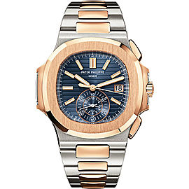 Patek Philippe 5980/1AR 18K Rose Gold with Blue Dial Automatic 40.5mm Mens Watch