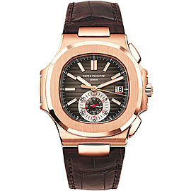 Patek Philippe 5980R 18K Rose Gold with Nautilus Black-Brown Dial Automatic 40.5mm Mens Watch