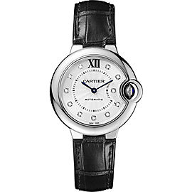 Cartier Ballon Bleu W4BB0009 Stainless Steel & Black Leather with Silver Dial Automatic 33mm Womens Watch