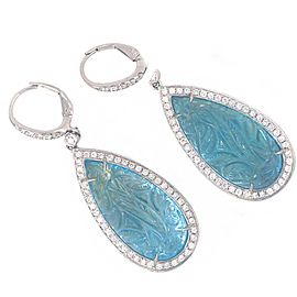 18k White Gold Carved Topaz and Diamond Earrings