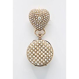 Natural Pearl and Diamond Pendant and Brooch Lapel Watch