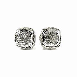 John Hardy 18K White Gold, 925 Sterling Silver .28tcw Diamond Earrings