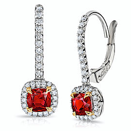 Platinum 18K Yellow Gold 1.04ctw. Ruby 0.24ctw. Diamond Earrings