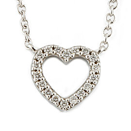 TIFFANY&Co. 18K white gold Diamond heart Metro Necklace CHAT-365