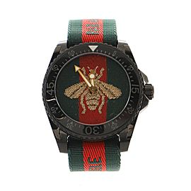 Gucci Bee Dive Quartz Watch PVD Stainless Steel and Fabric 45