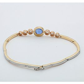 Platinum and 18K Gold with 1ct Sapphire and 0.90ct Diamonds Halfway Flexible Bracelet