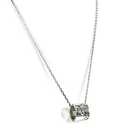 Gucci 18K White Gold .09tcw ICON Diamond Barrel Necklace