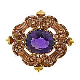 Antique Gold Amethyst Brooch Pin