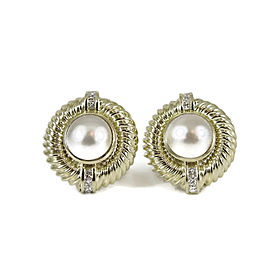 David Yurman Vintage 14K Yellow Gold Mabe Pearl Diamond Earrings