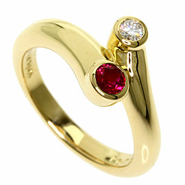 MIKIMOTO 18K Yellow Gold Ruby Diamond Ring TNN-2040