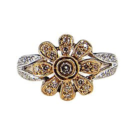 14K White and Rose Gold 0.27ct. Diamond Floral Fashion Ring Size 6.5