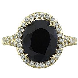 5.12 Carat Sapphire 14K Yellow Gold Diamond Ring
