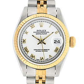 Rolex Datejust SS and Yellow Gold White Roman Dial 26mm Women's Watch