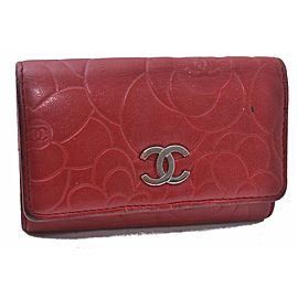 CHANEL CC Logo Camellia Lamb Skin Key Case Red