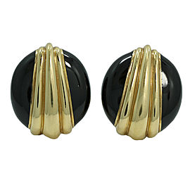David Webb 18K Yellow Gold and Black Enamel Clip On Earrings