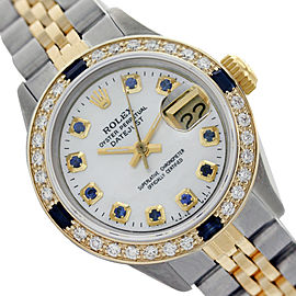 Rolex Lady Datejust White Mother of Pearl Sapphire and Diamond 26mm Watch