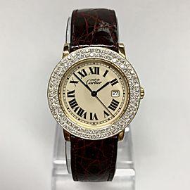 Must De CARTIER RONDE GP Silver 1.35TCW Diamond Watch