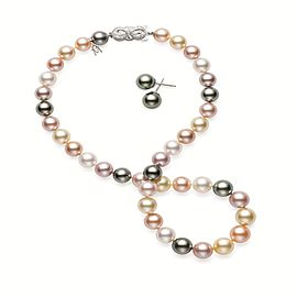 Mikimoto 18K White Gold Muliticolored Pearl Necklace & Earring Stud Set