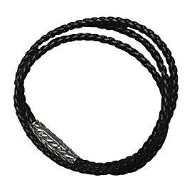 David Yurman Sterling Silver & Leather Black Triple Wrap Bracelet