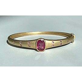 18K Yellow Gold Pink Tourmaline Egyptian Style Bangle