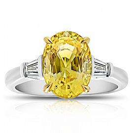 Platinum 18K Yellow Gold 4.95ct. Sapphire 0.31ctw. Diamond Ring Size 7