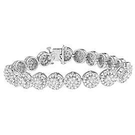 14K White Gold 9.5 ct. TDW Round-cut Diamond Bracelet