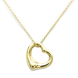 Polished TIFFANY & co 18K Yellow Gold Open Heart by Elsa Peretti Necklace HK-2072