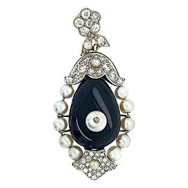 Cartier 18 Karat Gold Diamond Set with Onyx Pendant