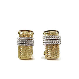 Roberto Coin 18K Yellow Gold .60tcw 4-Row Diamond Silk Weave Earrings