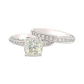 Tacori 18K White Gold Platinum Diamond Wedding Ring Size 7.5