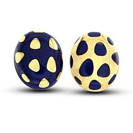 Tiffany & Co. 18K Yellow Gold Enamel Lapis Earrings
