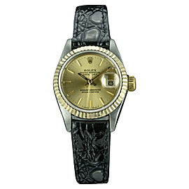 Rolex Datejust 6917 Stainless Steel and 18K Yellow Gold with Black Dial Vintage 26mm Womens Watch
