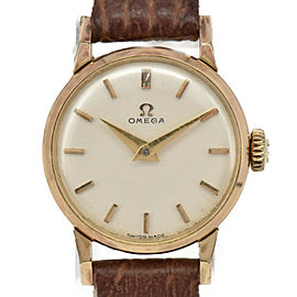 OMEGA Vintage Silver Dial GP/Leather Cal.245 Hand Winding Ladies Watch