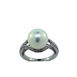 Mikimoto 18K White Gold White South Sea Pearl & 0.28ct. Diamond Pearl Ring Size 6.75