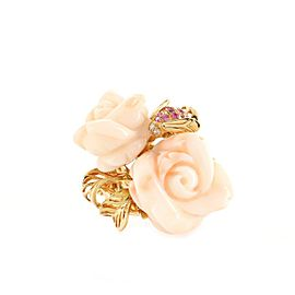 Christian Dior Rose Dior Pre Catelan Ring 18K Yellow Gold and Coral with Pink Sapphires and Diamond Large