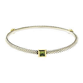 David Yurman 18K Yellow Gold Sterling Silver Prasiolite Cable Bracelet
