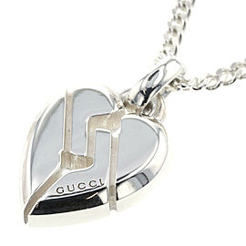 GUCCI 925 silver Knot Heart Flat Link Chain Necklace