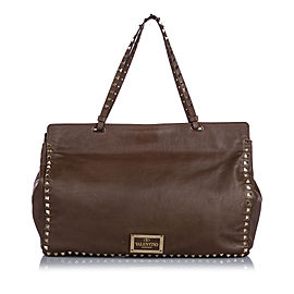 Rockstud Leather Tote Bag