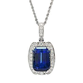 Platinum Tanzanite Diamond Pendant Necklace
