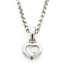 Chopard 18K white gold heart Happy diamond Necklace CHAT-885