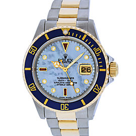 Rolex Submariner 16613 Stainless Steel & 18K Yellow Gold Blue Mother Of Pearl Diamond and Ruby 40mm Mens Watch