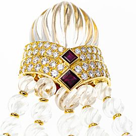 Boucheron a Rock Crystal Ruby and Diamond Brooch