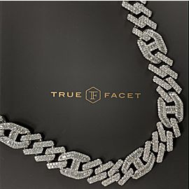 14K White Gold Men's 52.48CT Diamond Necklace