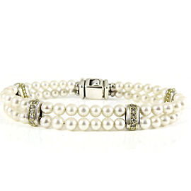 Lagos Sterling Silver 18K Yellow Gold .40tcw Diamond Circle Game 2-Row Pearl Line Bracelet