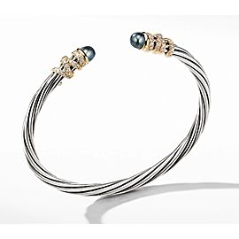 David Yurman Helena Bracelet with Gray Pearl and Diamonds Medium size