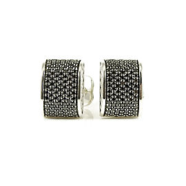 David Yurman Sterling Silver Pave Black Diamond Rectangular Cufflinks
