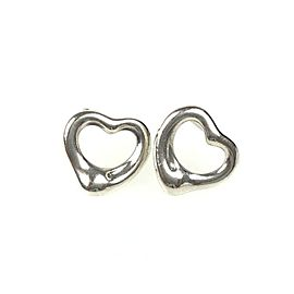 TIFFANY & Co. silver Elsa Peretti Open Heart Pierced Earrings