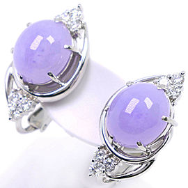 14k white gold/Lavender flower/diamond Earring