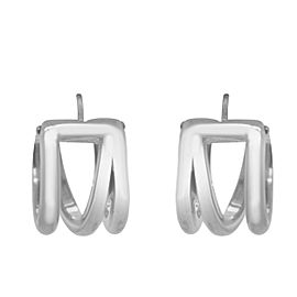 Tiffany & Co. Sterling Silver Zigzag Wide Hoop Huggie Earrings