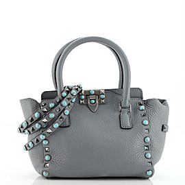 Valentino Rolling Rockstud Tote Leather with Cabochons Small